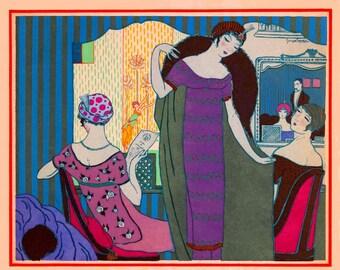 vintage art deco fashion design flapper girls Paul Poiret dresses at the theater illustration digital download