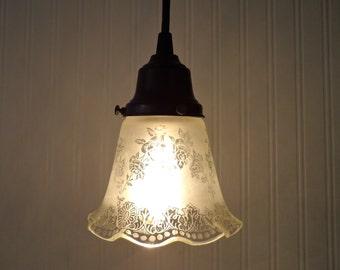 Vintage Frost & Clear PENDANT Light