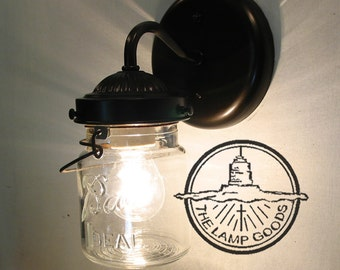 Mason Jar SCONCE Lighting Fixture with Vintage Pint - Flush Mount Wall Light Farmhouse Kitchen Ceiling Chandelier Track Fan Rustic LampGoods