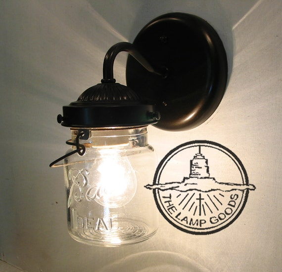 Mason Jar SCONCE Lighting Fixture with Vintage Pint