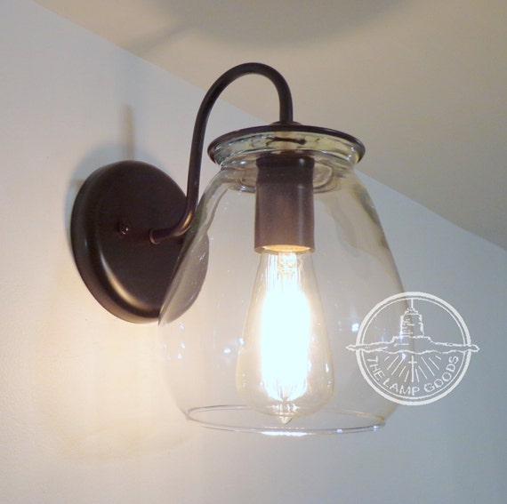 Verona wall sconce light with edison bulb flush mount glass for Edison bathroom light fixtures