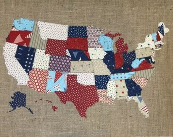 Fabric Map, United States, Scrap map, Red, White & Free by Moda