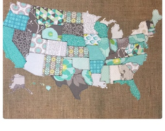 Fabric Map, United States Map, fabric Scrap map, riley blake fabric, cottage garden, childs room decor,coass room decor, map of the USA,