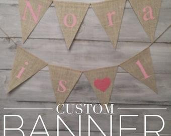 Personalized burlap pennant banner, custom, name, date, phrase