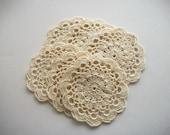 Crochet Coaster Set Beige Cotton Lace Mug Mats 6 pieces Heirloom Quality