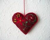 Heart Ornament Dark Red Felt Valentine Hanging with Hand Embroidered Felt Flower Swirls and Beads Handsewn