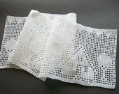 Crochet Lace Edging White Cotton Filet Valance Entre Deux or Trim Fiber Art Heirloom Quality