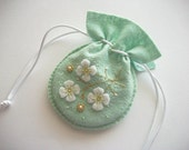 Bridal Jewelry Bag Mint Felt Drawstring Bag with Handembroidered Felt Flowers Beaded Ornaments Swirls and Dots Handsewn