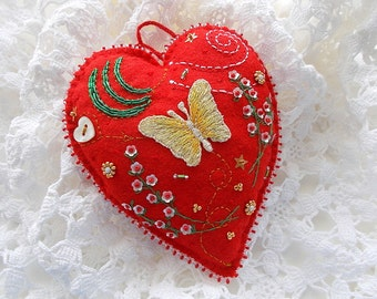 Heart Ornament Red Felt Hanging with Golden Butterfly Sequin Flowers Swirls and Bead Embroidery Handsewn