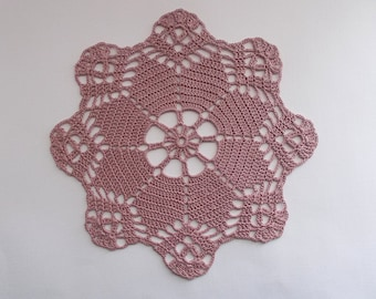 Crochet Doily Old Rose Pink Cotton Lace with Star Center and Scaloped Edge Heirloom Quality