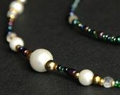 Eyeglass Holder or Badge Holder. Peacock and Pearl Beaded Lanyard. Blue and Green Eyeglass Chain. Pearl Lanyard. Jewel Tone Eyeglass Leash.