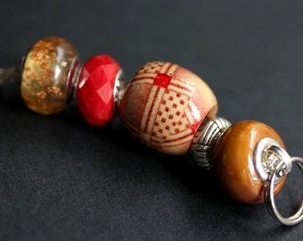 Badge Lanyard. Red Lanyard. Id Lanyard. Brown Lanyard. Badge Necklace. Beaded Lanyard. Badge Holder. Handmade Lanyard. Badge Leash.