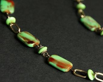 Badge Holder or Eyeglass Lanyard. Bright Green Beaded Eyeglass Holder. Green and Gold Lanyard. Eyeglass Chain. Handmade Lanyard.