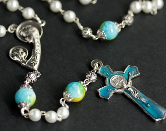 White Pearl Rosary. Turquoise Blue and Yellow Rosary. Aqua Blue Rosary. Unisex Rosary in Silver. Handmade Rosaries.
