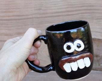 Coffee Drinker Mug with Attitude. Goofy Overbite Face Mug. Stoneware Pottery Coffee Cups and Mugs. Eccentric Gift Ideas for Him and Her.