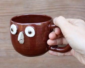Redbird Coffee Cup. Cardinal Teacup. Handcrafted Stoneware Pottery. Soup Mugs. Bird Lover Gift. Whimsical Bird Art.