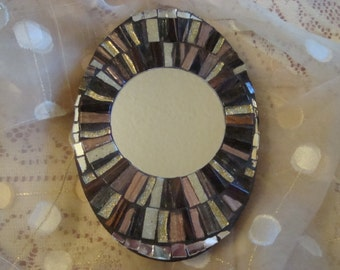 MOSAIC MIRROR, Accent Mirror, Small Oval Mirror, Wall Art, Wall Hanging, Earth Tones, Gold, Silver