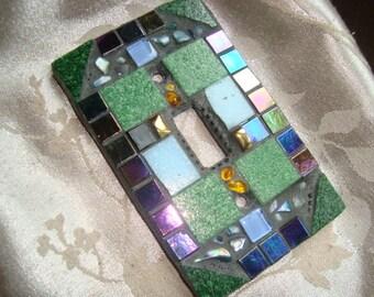 MOSAIC LIGHT SWITCH Plate, Single Switch, Wall Art, Green, Blue, Gold Iridescent Black, Boho