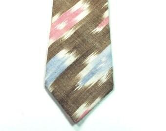 brown ikat necktie ikat skinny necktie cotton necktie custom necktie mens neckties