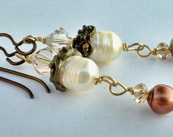 Elemental Elegance Earrings, Ivory and Copper Freshwater Pearls, Crystals, Antique Bronze, Gold, Rustic Wedding