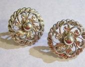 vintage silver tone round swirls screw on or screw back earrings