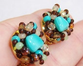 tiny small clip on earrings with tiny blue, brown and frosted white beads 615C2