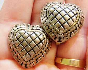 clip on earrings, vintage silver tone with gold tone trim hearts clip on earrings