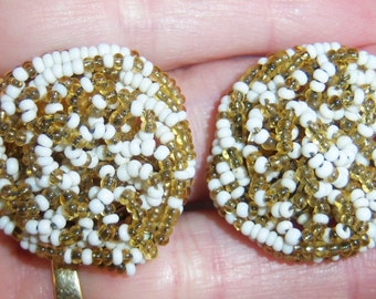 clip on earrings, vintage white and gold tone tiny beads strung on clip on earrings 515A