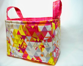 PK Fabric Basket in Geometry in Sunrise - Storage Basket - Diaper Caddy - Ready To Ship - Reversible