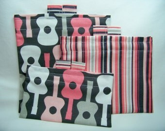 ON SALE! PK Happy Baggy Set - Groovy Guitars in Bloom - Lunch Bags - Ready To Ship