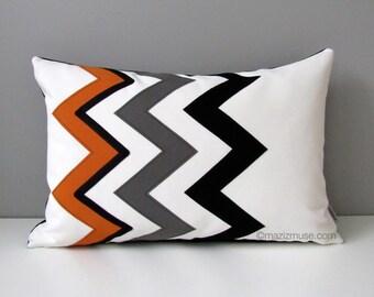 Orange Chevron Pillow Cover, Modern Outdoor Pillow Case, Black White Grey, Decorative Throw Pillow Case, Sunbrella Cushion Cover, Mazizmuse