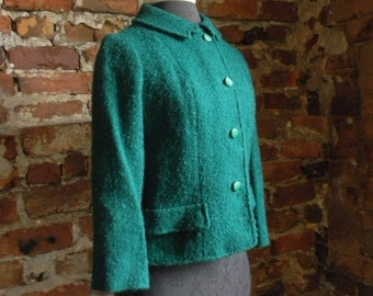 Vintage Jacket, Green Jacket, Womens Short Jacket, Green Wool Jacket Size Small 1960 Jackie Kennedy Style Jacket, Emerald Green Jacket