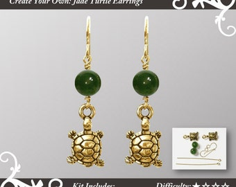 Kit for Jade Turtle Earrings - make your own jewelry - earrings kit - complete kit unassembled - with gold pewter turtles and BC Jade