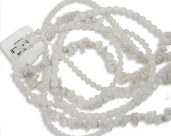 Snow Jade  - choose from 4mm or 6mm smooth round beads or chip beads - semiprecious gemstone translucent milky white jewelry beads