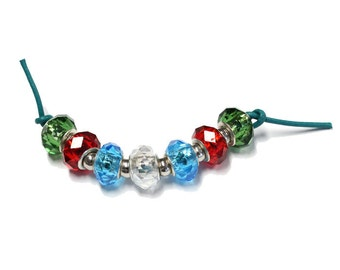 Holiday Mix Faceted Glass Rondelle Beads - 7 bead strand - large hole beads for european style bead charm bracelets