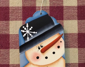Adorable Snowman with Black Top Hat Blue Gift Tag Hand Painted Wood Christmas Ornament