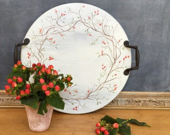Farmhouse Decorative Lazy Susan Tray with Hand Painted Twig and Berry Design Grey with Handles Fall Winter Home Decor