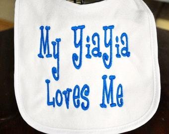 EMBROIDERED BABY BIB - you pick the phrase, Personalized bib, custom bib, put any phrase or saying you like, full name/three letter monogram