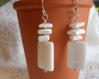 Handmade Pearl White Shell Theme Dangle Earrings   Ready to ship!
