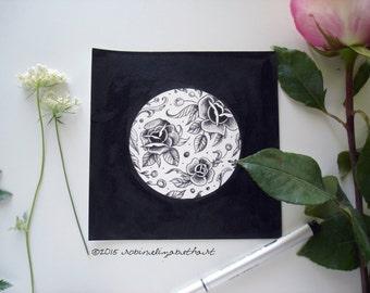 Dotwork Rose Tattoo Art - Original Pen and Ink Drawing Stippling