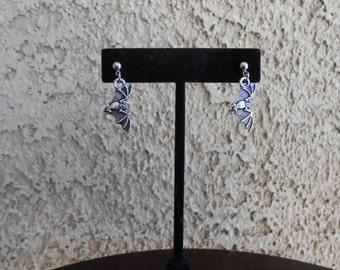 Pewter Bat Earrings