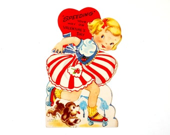 """Vintage 1950s Valentines Card / UNUSED 6"""" Articulated Girl on Roller Skates, """"Speeding Your Way on Valentines Day"""""""