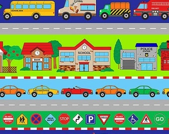 Connector Play Mats Fabric by Northcott Travel Stripe Quilt Border Cars Trains Emergency Trucks Kids Room Decor