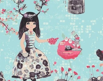 Wonderland Fabric from Art Gallery Katarina Roccella Wonderlandia Fondant Girl Having Tea Party with Flowers and Bird Cages on Blue