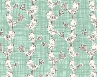 Sophia Singing Chirping Bird Fabric by Makower UK Cream and Gray Birds on Aqua Teal