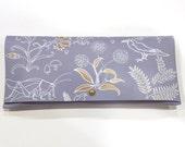 Powder Blue Hand Painted Clutch Purse - Leather Evening Bag - Gold Purse - Floral Purse - Wedding Something Blue Clutch
