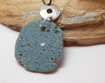 Leland Blue Stone Pendant, Michigan Gem, Foundry Glass, slag glass pendant, Caribbean  blue