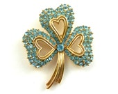 Gorgeous 1950s vintage Trifari Aqua rhinestone shamrock / 3 leaf clover in a gold tone-Rare CrownTrifari Brooch-Pin- Art.686 -