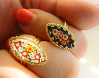 A special duo / couple  micro mosaic rings - small floral gardens in bright colors on two gold finish rings unique size -2 pieces- art.516/4