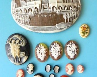 Magnificent lot of cameos - 15 cameos for the artistic works or restorations - Mix of 1960 simulated cameos Acrylic - Art.252 - -